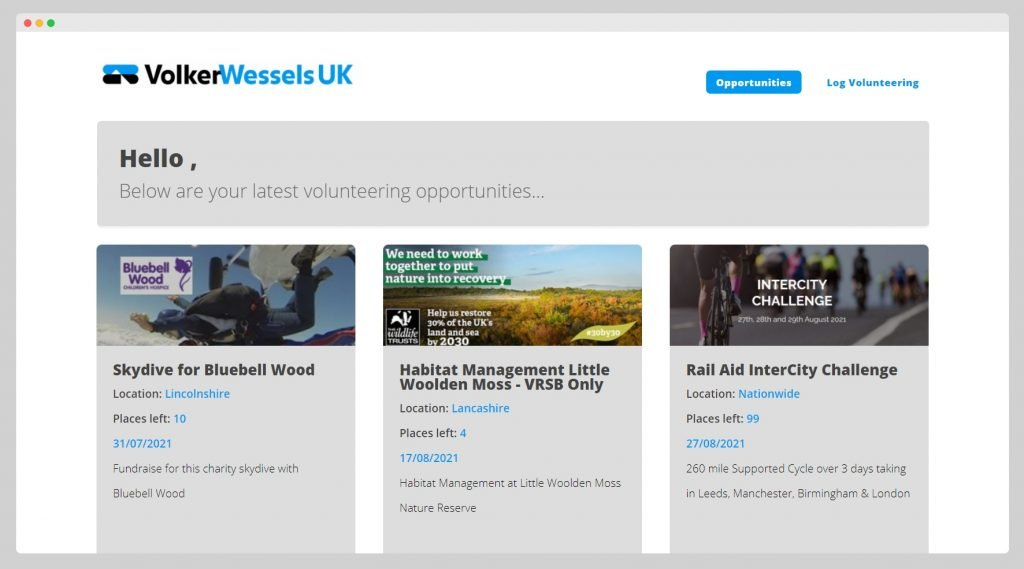 VolkerWessels UK Volunteering Screen Shot